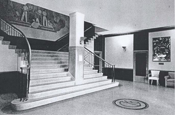 The lobby of Building 9, 1942