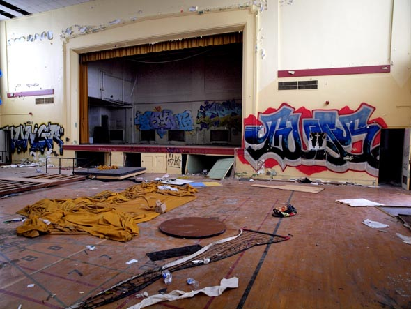 The wrecked auditorium in Building 9