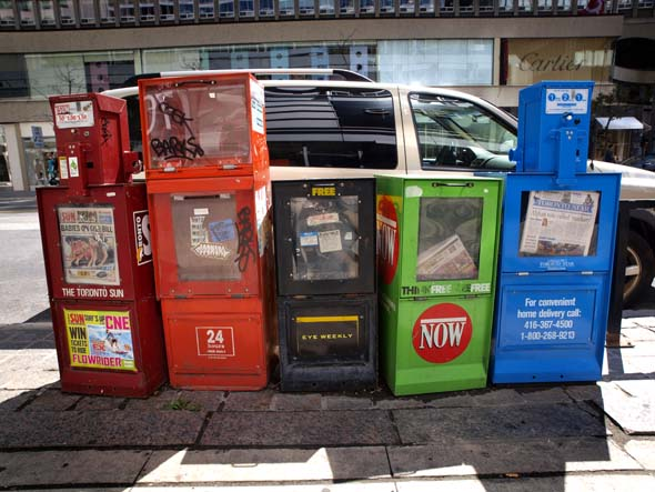 Newspaper boxes on Bloor Street