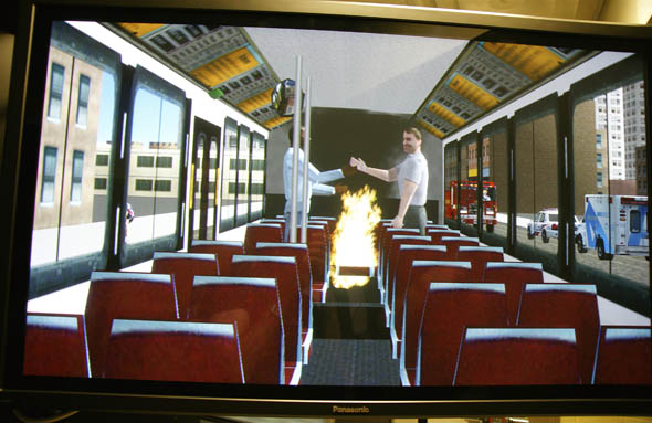 TTC bus simulator fight and fire