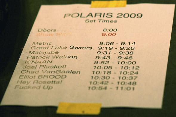2009 Polaris Prize Short List
