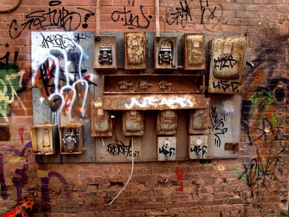 Disused electrical panel at the brick works