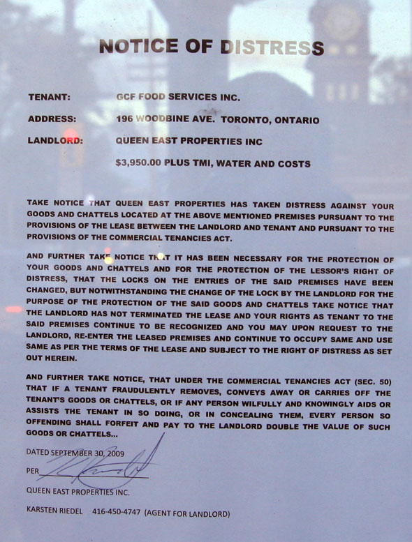Ho Lee Chow Eviction Notice
