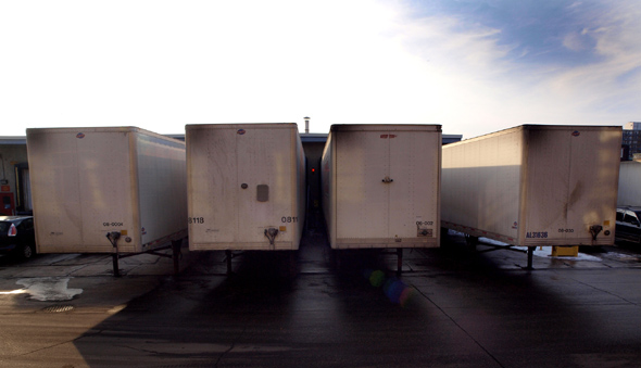 The loading docks at Canada Bread on Fraser