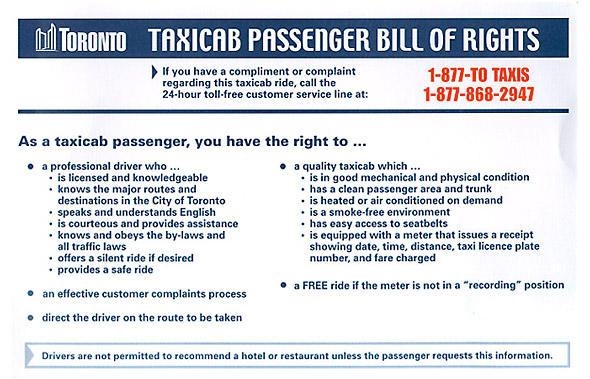 Toronto Taxi cab bill of rights
