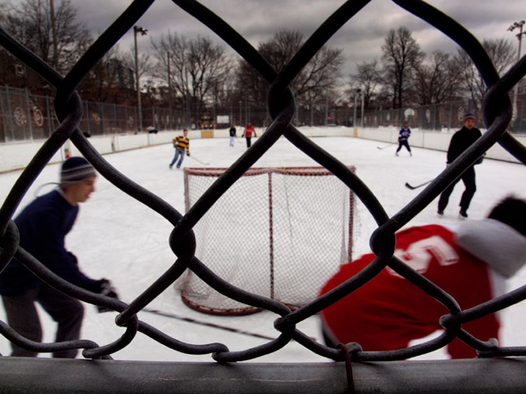 Through the fence at Dufferin Grove rink