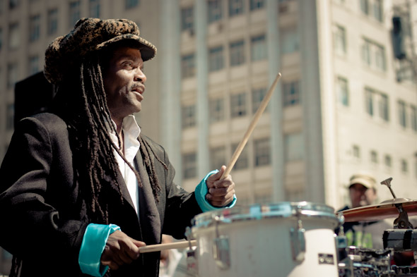 Toronto Street Busker Snooky Tynes Family Band Drumming