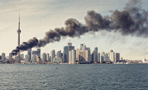 fire toronto skyline