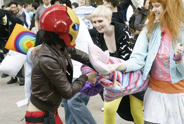 Yonge-Eglinton Square pillow fight