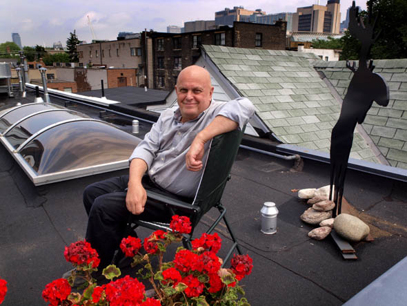 Charles Pachter on the roof of his Chinatown house