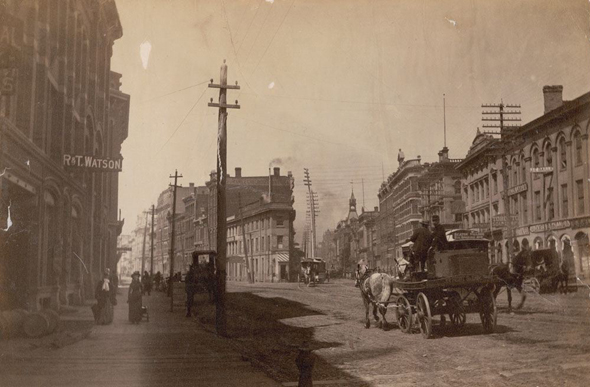 oscar wilde, toronto, 1880s, front street, jarvis street, st. lawrence market, coffin block