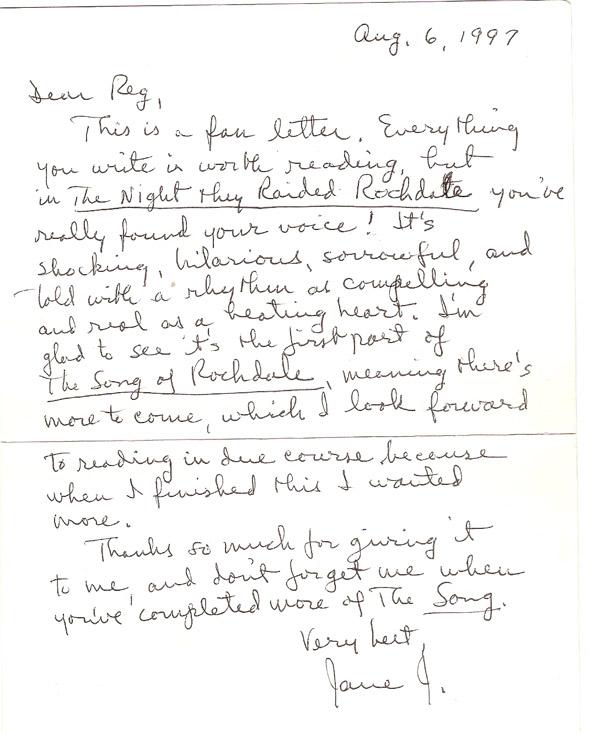 Jane Jacobs letter