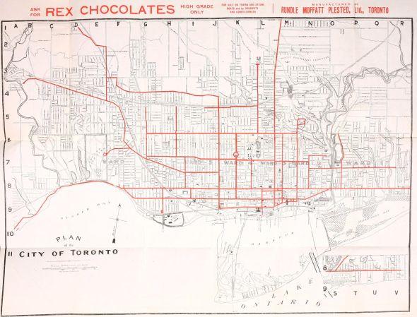 toronto, streetcar routes, map, 1912