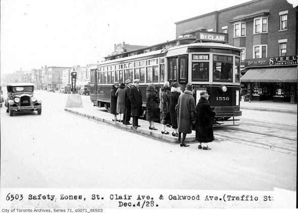st. clair avenue, oakwood avenue, toronto, streetcar, 1928