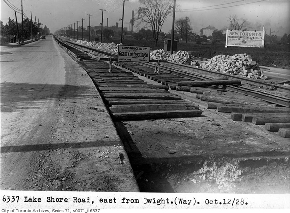 lakeshore road, dwight avenue, new toronto, etobicoke, streetcar line construction, 1928