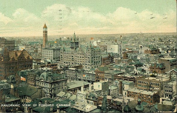 Toronto, Old City Hall, Temple Building, Confederation Life Building, Richmond Street, Yonge Street, postcard, 1920s