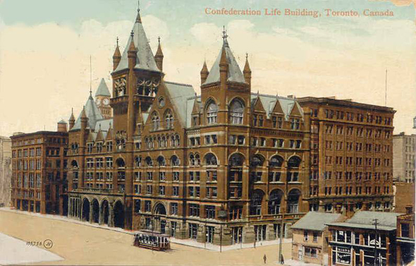 Toronto, Confederation Life Building, Richmond Street, Yonge Street, postcard, 1920s