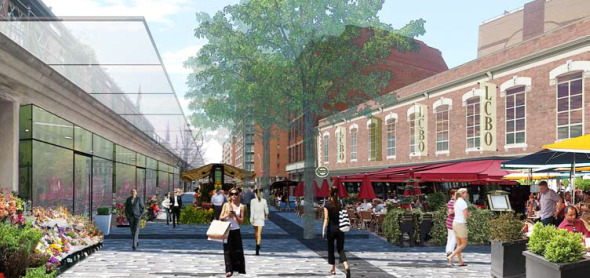 Conceptual rendering of a Pedestrian-only Market Street