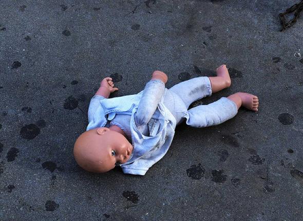 doll on street