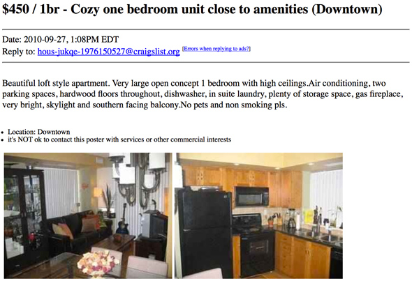 What $500 or less gets you for an apartment rental on Craigslist