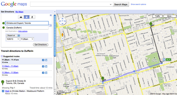 a closer look at ttc routes on google maps. Black Bedroom Furniture Sets. Home Design Ideas