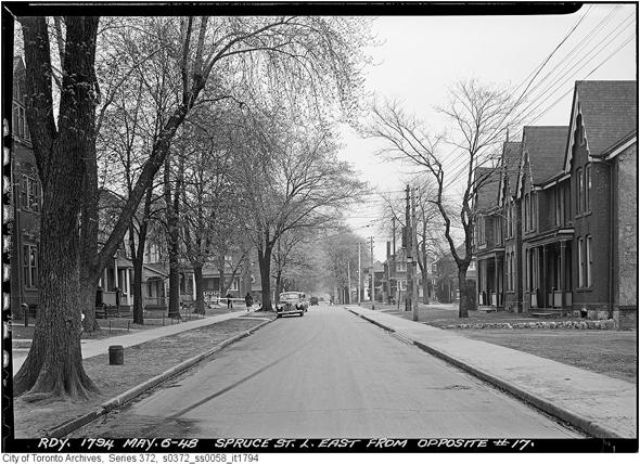 Toronto, Cabbagetown, Don Vale, Spruce Street, Rolston Street, Victorian architecture, gentrification, urban renewal, 1948