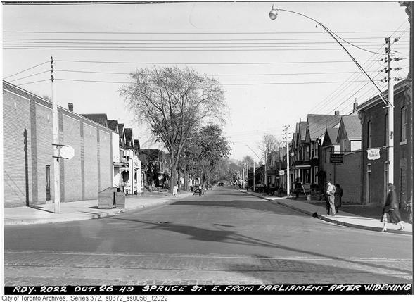 Toronto, Cabbagetown, Don Vale, Spruce Street, Parliament Street, Victorian architecture, gentrification, urban renewal, 1948