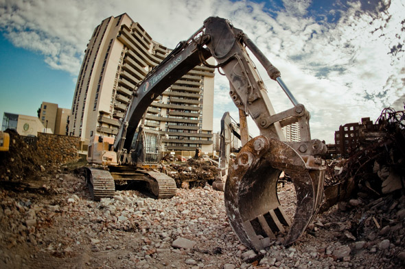 Toronto Apartment Demolition Excavator Claw