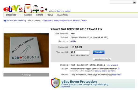 G20 memorabilia Toronto