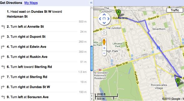 Google bike map Toronto