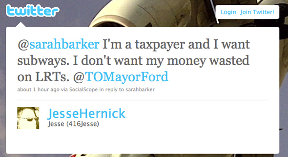 Toronto Mayor Twitter