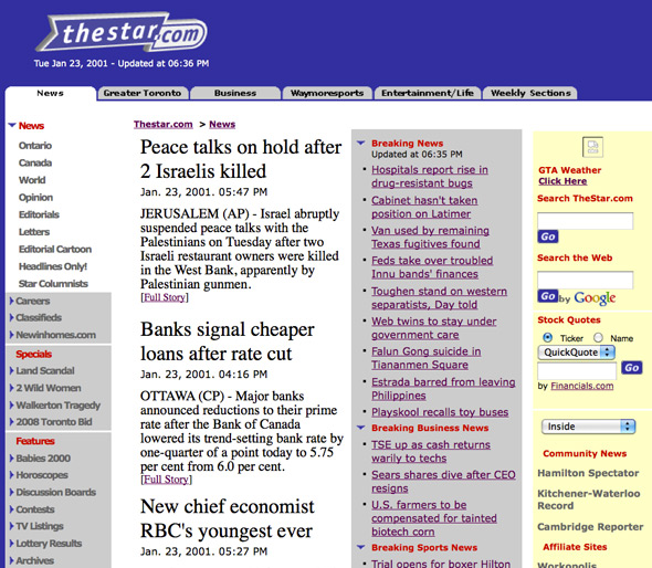 Toronto Star Web 2001