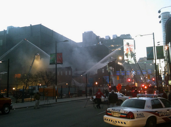 Fire at Yonge and Gould