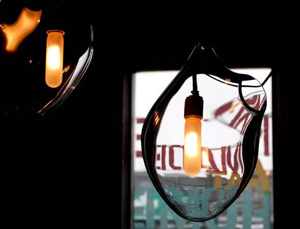 blown glass heart chandelier