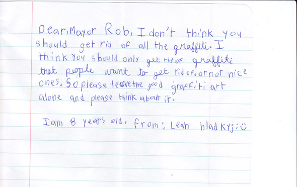 Rob Ford Graffiti letter