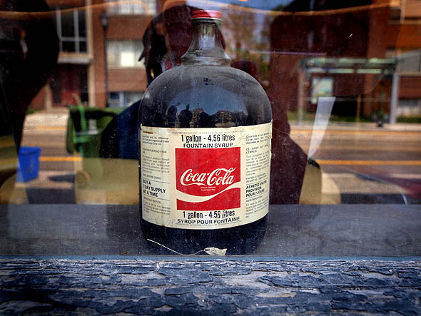 vintage Coke syrup in Ace Restaurant window