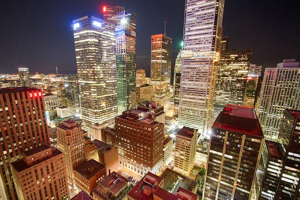 urban, night, lights