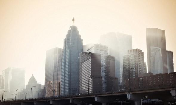 toronto, skyline, fog