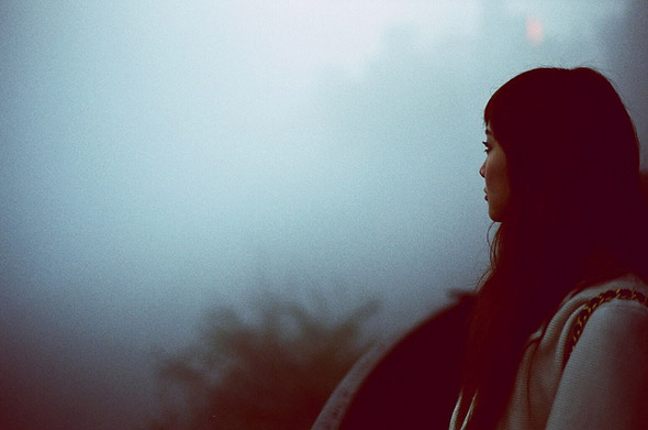 girl, look, fog