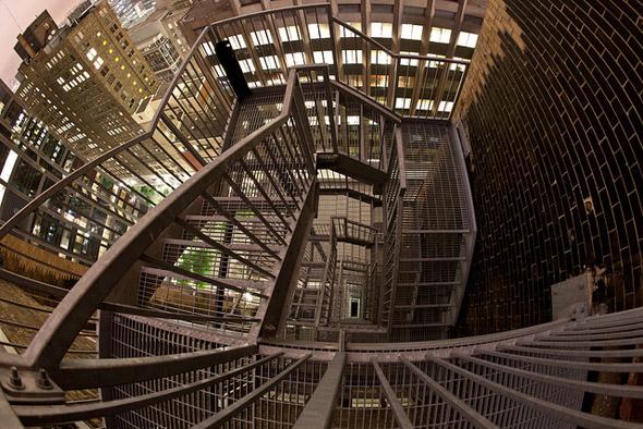 urban, night, stairs