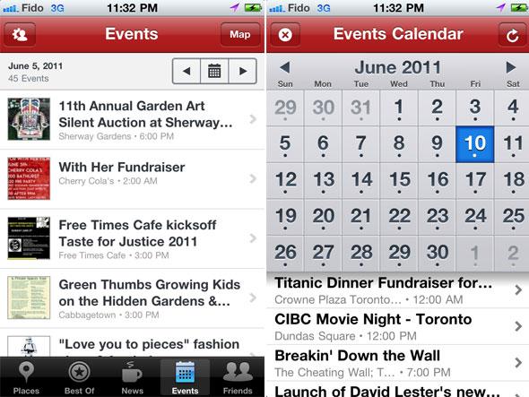 Toronto Events Iphone App