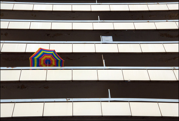 balcony, umbrella, rainbow