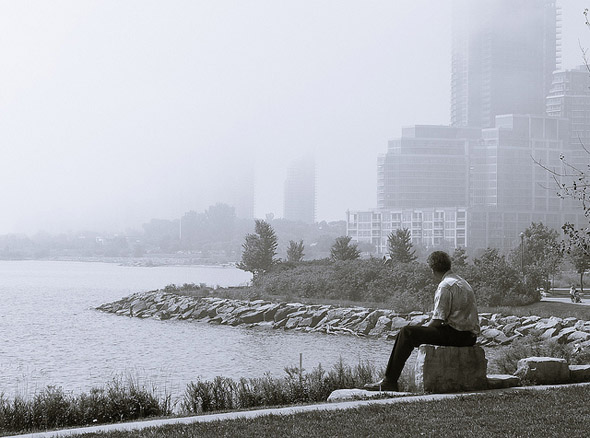 fog, lake, photo