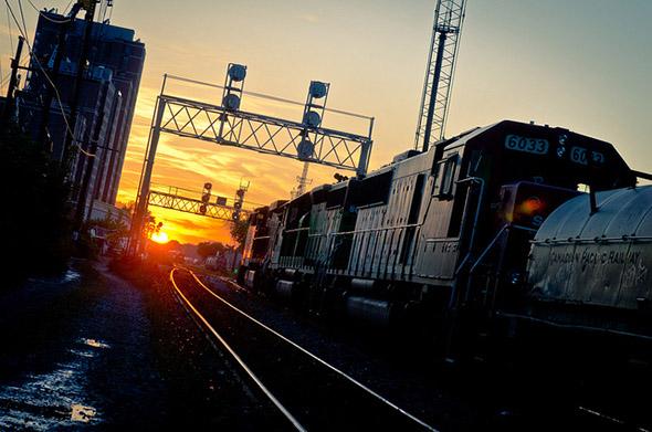 train, sunset, rail