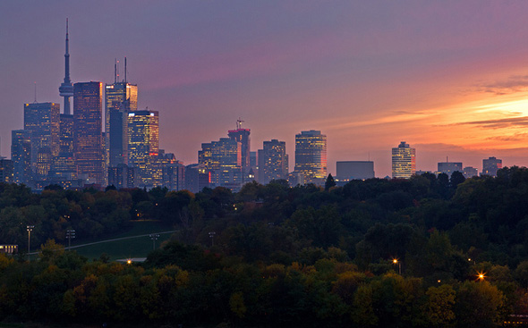 toronto, skyline, sunset