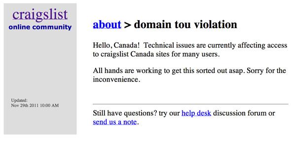 Craigslist Down Canada