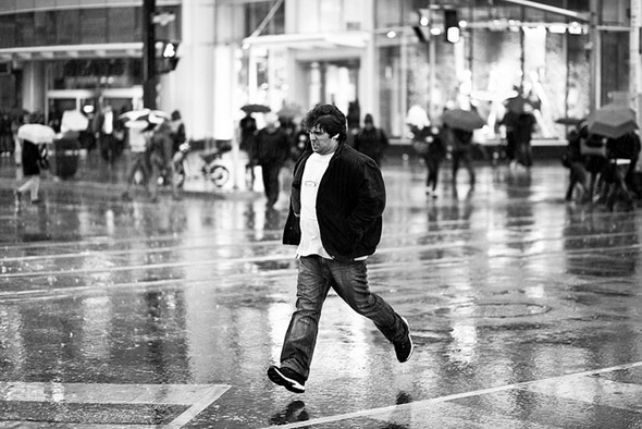 rain, street, run