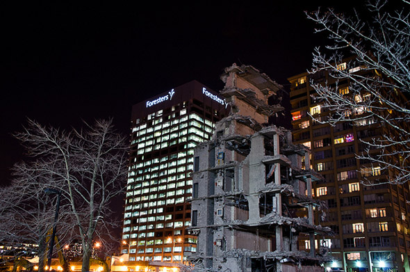 demo, urban, night