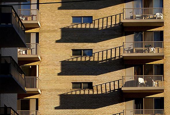 balconies, shadow, sunlight