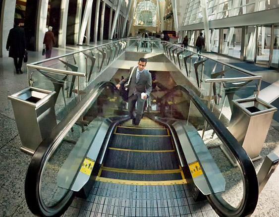 fisheye, business, escalator